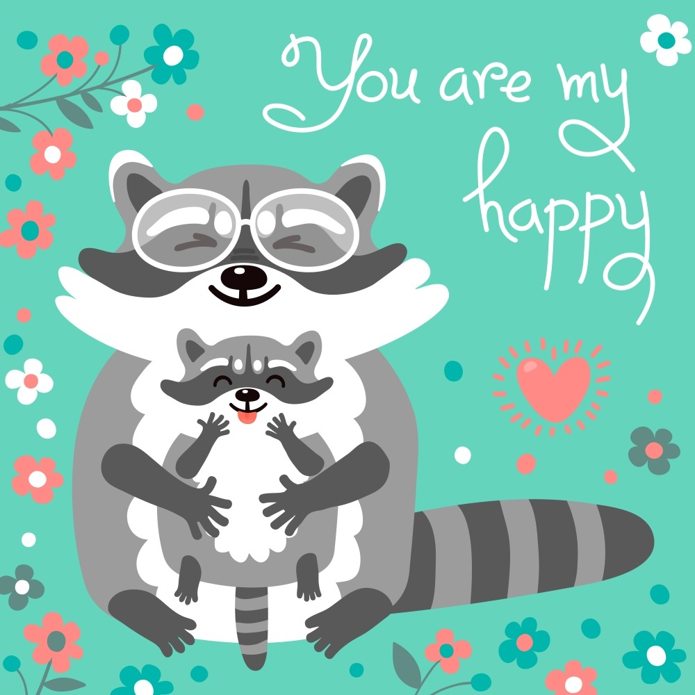 Card with cute raccoons and a declaration of love.. Card with cute raccoons and a declaration of love. Vector illustration.