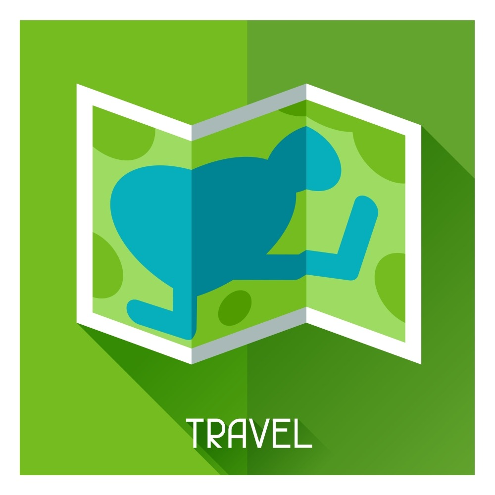 Tourist creative illustration of map in flat style. Tourist creative illustration of map in flat style.